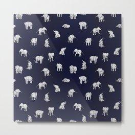 Indian Baby Elephants in Navy Metal Print