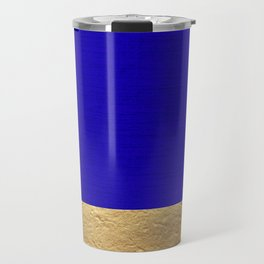 Color Blocked Gold & Cerulean Travel Mug