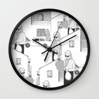 the neighbourhood Wall Clocks featuring Into the neighbourhood by Fiona Kate