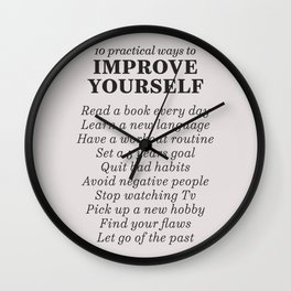 Improve yourself, motivational list for good habits, workout, daily routine, set life goals Wall Clock
