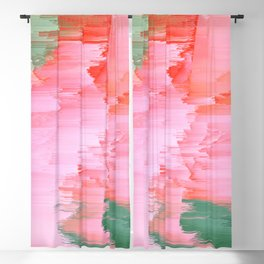 Romance Glitch - Pink & Living coral Blackout Curtain