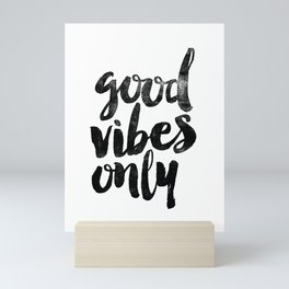 Good Vibes Only black and white typography poster black-white design home decor bedroom wall art Mini Art Print