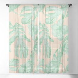 Tropical Monstera and Palm Party II Sheer Curtain