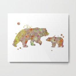 Bear Family Watercolor Painting 2 Metal Print