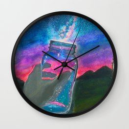 'Slightly Ajar' Hand-Drawn Original Art - Milky Way Night Sky - by Dark Mountain Arts Wall Clock