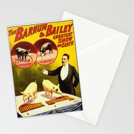 Vintage Circus Poster - Trained Pigs Stationery Cards