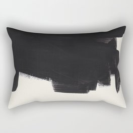 Mid Century Modern Minimalist Abstract Art Brush Strokes Black & White Ink Art Colorfield Rectangular Pillow
