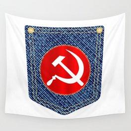 Russian Denim Pocket Wall Tapestry