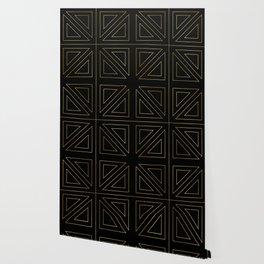Angled 2 Black & Gold Wallpaper