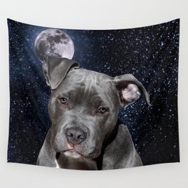 Pitbull Terrier and Moon Wall Tapestry