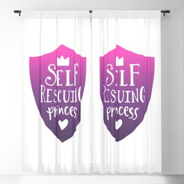 Self Rescuing Princess - Feminist Quote Pink Purple Blackout Curtain