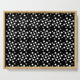 stars 12 black and white Serving Tray