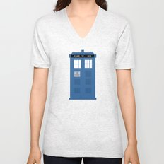 TARDIS Under the Sea - Doctor Who Digital Watercolor Unisex V-Neck