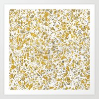 Real gold granite terrazzo pattern Art Print