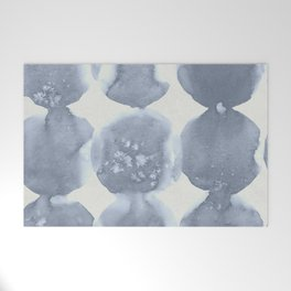 Shibori Wabi Sabi Indigo Blue on Lunar Gray Welcome Mat