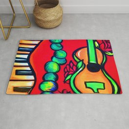 Red Rose Guitar with piano keys and Mardi Gras beads Rug
