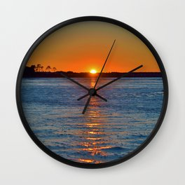 Frozen Bay Sunset Wall Clock