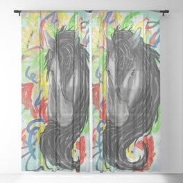 Fancy Pony Sheer Curtain