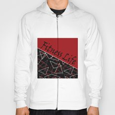 The fitness club . Red black creative pattern . Hoody