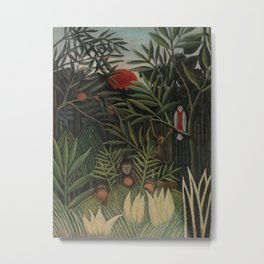 Monkeys and Parrot in the Virgin Forest Metal Print