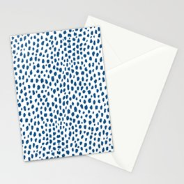 Handmade Polka Dot Paint Brush Pattern (Pantone Classic Blue and White) Stationery Cards