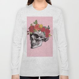 Cotton Candy Floral Skull Long Sleeve T-shirt