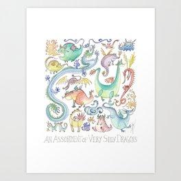 An Assortment of Silly Dragons Art Print