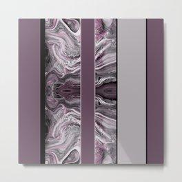 Marbled Mauve Pink Stripes Metal Print