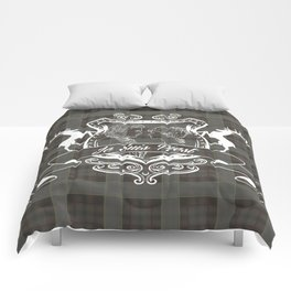 Outlander plaid with Je Suis Prest crest Comforters