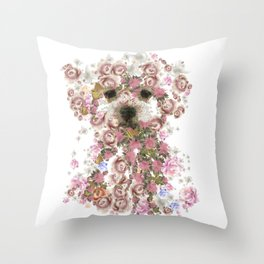Vintage doggy Bichon frise.DISCOVER Throw Pillow