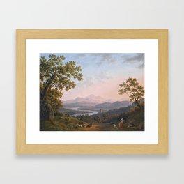 Jakob Philipp Hackert , A VIEW ALONG THE VALLEY OF THE RIVER TIBER TOWARDS POGGIO MIRTETO, AND BEYON Framed Art Print