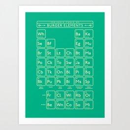 Periodic Table of Burger Elements - Green Art Print