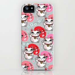 Kyoto Kitty on Grey iPhone Case