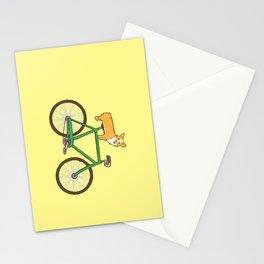 Corgi on a bike Stationery Cards