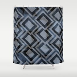 Black and White Squares Pattern 08 Shower Curtain
