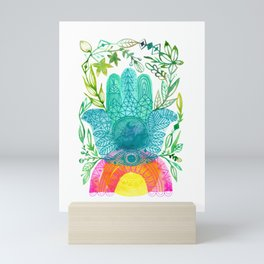 Hamsa Rainbow in Harmony Mini Art Print