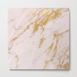Rose Marble and Gold Metal Print