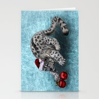 snow leopard Stationery Cards featuring Snow Leopard by Anna Shell