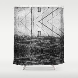 Through Roebling's Grid Shower Curtain