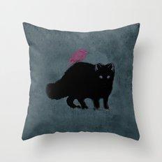 Cat and bird friends! Throw Pillow