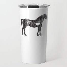 I Love Horses Black Rider Cowboy Cowgirl Jockey Travel Mug