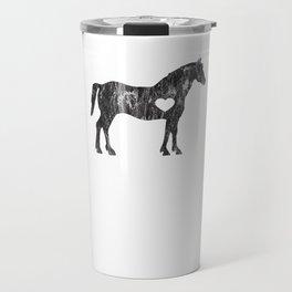 I Love Horses Black Rider Cowboy Cowgirl Jockey Travel Mug