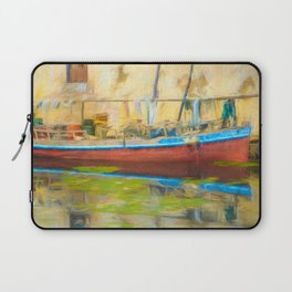 Boat Docked with Reflection Laptop Sleeve