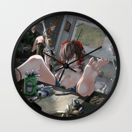 Three Cute Paramilitary Hentai Girls With Lots Of Rifles And Guns Ultra HD Wall Clock