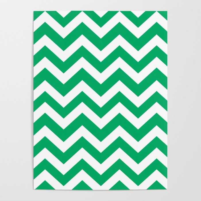 go green green color zigzag chevron pattern poster by