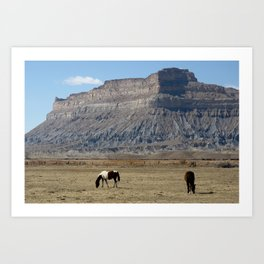 Horses, Book Cliffs Art Print