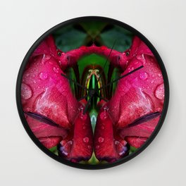 Rain Rose Butterfly Wall Clock