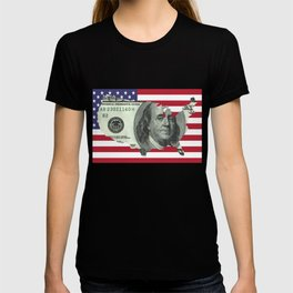 $100 Bill United States Outline on American Flag T-shirt