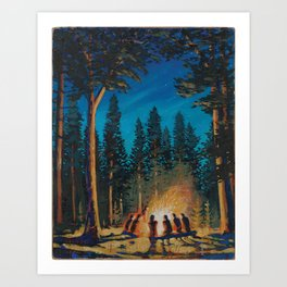 campfire - by phil art guy Art Print