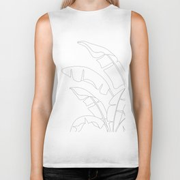 Minimal Line Art Banana Leaves Biker Tank